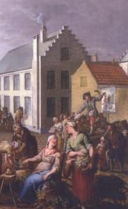 Een plakkaatzanger verkoopt zijn liedbladen (18de eeuw) Het Plandereitje in Brugge (detail) - Jan Garewijn (1712 – 1799) Groeninghe museum Brugge